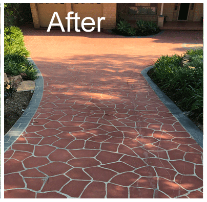 Before and after pressure cleaning drveways